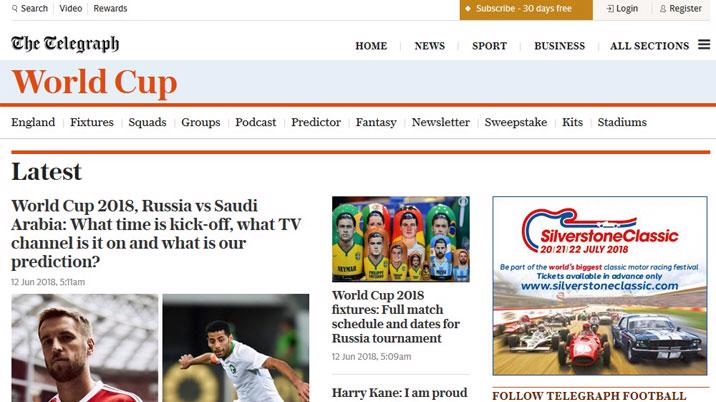 Telegraph unveils its World Cup coverage