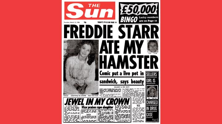 'Freddie Starr ate my hamster' crowned The Sun's most iconic cover