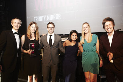 Trinity Mirror Ad Ops team collecting 2012 AOP award.